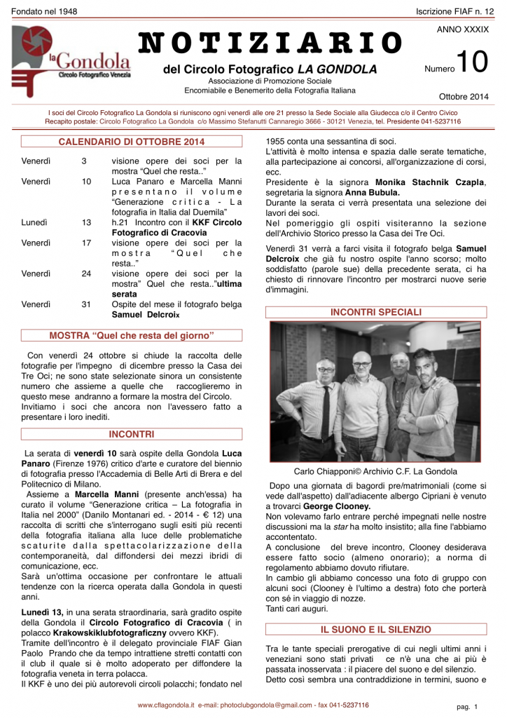 Notiziario Gondola 2014_10_Ottobre